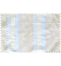 Beige white green geometric circles with vertical stripes poly sheer curtain designs