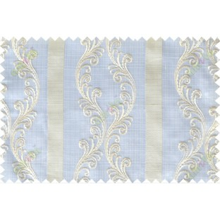 White beige green traditional motif with vertical pencil stripes poly sheer curtain designs