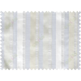 White beige vertical bold stripes poly sheer curtain designs