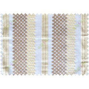 Brown beige green white geometric circles with vertical stripes poly sheer curtain designs