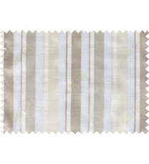 Brown white grey vertical bold stripes poly sheer curtain designs