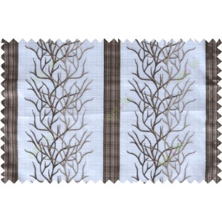 Chocolate brown white colour creepers with vertical stripes poly sheer curtain designs