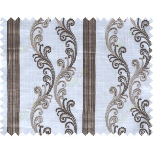 Chocolate brown white traditional motif with vertical pencil stripes poly sheer curtain designs