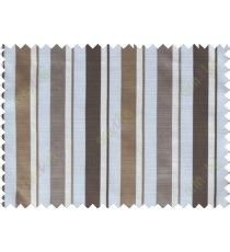 Chocolate brown white vertical bold stripes poly sheer curtain designs