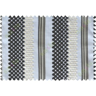 Black white beige geometric circles with vertical stripes poly sheer curtain designs