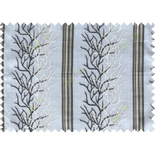 Black white beige colour creepers with vertical stripes poly sheer curtain designs