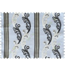 Black white beige traditional motif with vertical pencil stripes poly sheer curtain designs