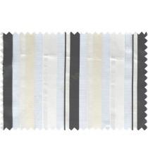 Black white beige vertical bold stripes poly sheer curtain designs