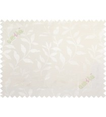 Pure white floral design leafy texture poly main curtain designs
