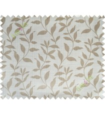 Beige grey floral design leafy texture poly main curtain designs