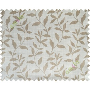 Beige grey floral design leafy texture poly main curtain designs