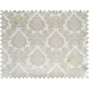 Beige grey traditional damask design poly main curtain designs