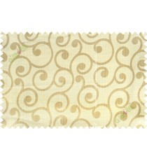 Beige grey color traditional seamless swirl design poly main curtain designs