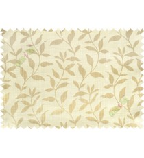 Grey yellow floral design leafy texture poly main curtain designs