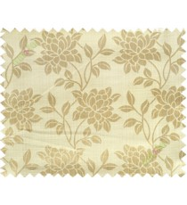 Beige grey yellow beautiful floral leaf design poly main curtain designs