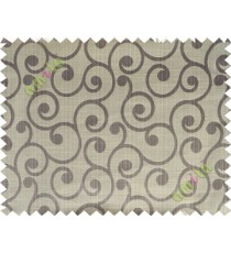 Grey beige color traditional seamless swirl design poly main curtain designs