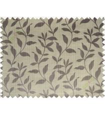 Grey beige floral design leafy texture poly main curtain designs