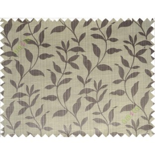 Grey beige floral design leafy texture poly main curtain designs