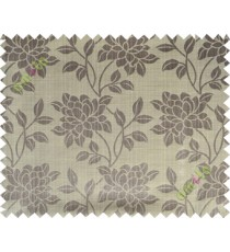 Grey beige beautiful floral leaf design poly main curtain designs