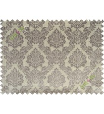 Grey beige traditional damask design poly main curtain designs