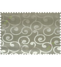 Green grey color traditional seamless swirl design poly main curtain designs