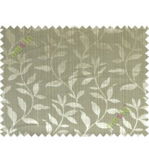 Green grey floral design leafy texture poly main curtain designs