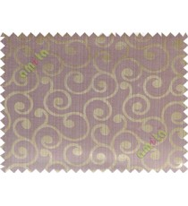 Brown purple grey color traditional seamless swirl design poly main curtain designs