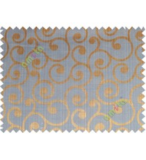 Copper blue color traditional seamless swirl design poly main curtain designs