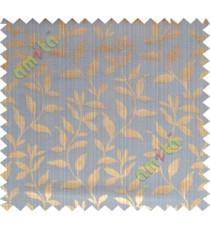 Copper blue floral design leafy texture poly main curtain designs