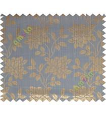 Copper blue beautiful floral leaf design poly main curtain designs