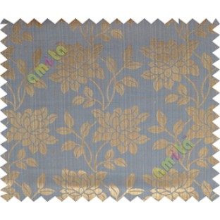 Copper blue beautiful floral leaf design poly main curtain designs