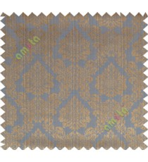 Copper blue traditional damask design poly main curtain designs