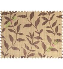 Black brown floral design leafy texture poly main curtain designs