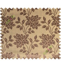 Black brown beautiful floral leaf design poly main curtain designs