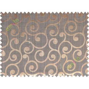 Copper brown black color traditional seamless swirl design poly main curtain designs