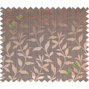 Copper brown black floral design leafy texture poly main curtain designs