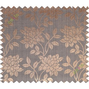 Copper brown black beautiful floral leaf design poly main curtain designs