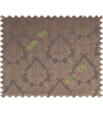 Copper brown black traditional damask design poly main curtain designs