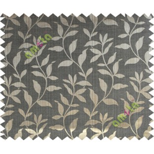 Black grey brown floral design leafy texture poly main curtain designs