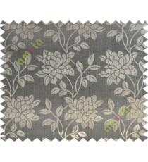 Black grey brown beautiful floral leaf design poly main curtain designs