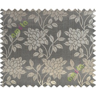 Black grey brown beautiful floral leaf design poly main curtain designs