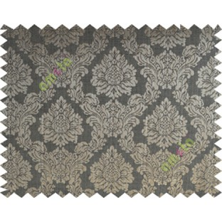 Black grey brown traditional damask design poly main curtain designs