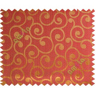 Gold red color traditional seamless swirl design poly main curtain designs