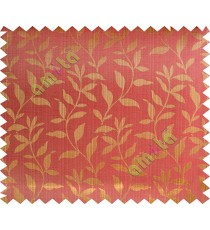 Gold red floral design leafy texture poly main curtain designs