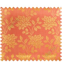 Gold red beautiful floral leaf design poly main curtain designs
