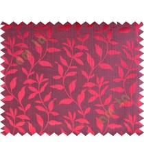 Black maroon floral design leafy texture poly main curtain designs