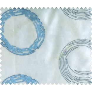 Abstract large circle with yo-yo design on white base turquoise and dark blue sheer curtain