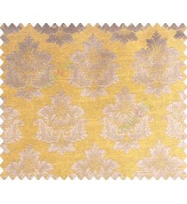 Traditional brown copper damask temple design palace royal design on mustard yellow base main curtain