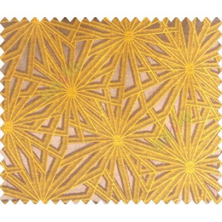 Abstract star sparkle running wheel network 3d design brown copper on mustard yellow base main curtain