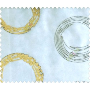 Abstract large circle with yo-yo design on white base brown gold design sheer curtain